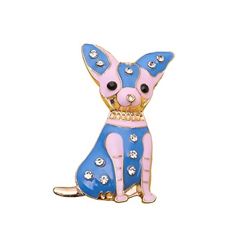 Red Cube Brooch Jewelry Chihuahua Cute Dog Vintage Rhinestones Crystal Gem Bling Novelty Fashion Pin (Chihuahua Blue)