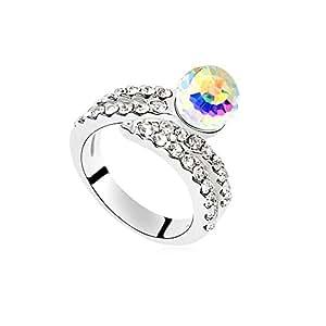 DEPOT TRESOR anillo en «c», diseño de corazón con cristales Swarovski, auténticos, Screw Aurora Boreal Cristal, color