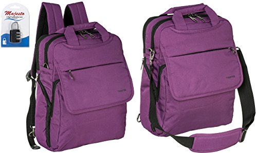 Convertible Laptop Backpac for Men and Women - Slim - Professional - Lightweight - Water Resistant - Ergonomic - With Bottle Holders - for Business and Travel + Padlock - Bundle - Purple