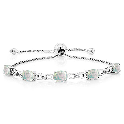 Gem Stone King 925 Sterling Silver Adjustable Diamond Tennis Bracelet Oval White Simulated Opal