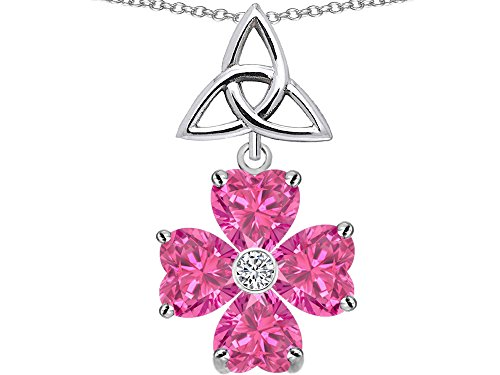 Star K Lucky Shamrock Celtic Knot Made with Heart 6mm Created Pink Sapphire Sterling Silver