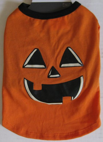 "Dog T-shirt Pumpkin Jack-o-lantern Halloween Small 8"" to 12"" Pumpkin Face Shirt"