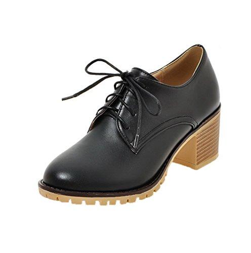Pu Femme Couleur Noir Rond Lacet Chaussures À Cuir Unie Agoolar Talon Correct Légeres aTACqwq