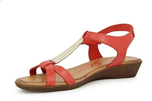 THILTRADING® - Chaussures femme Sandales Rouge - XUSANDALIA 1051 - Cuir Semelle en gel