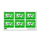 Zombie Hunting License Permit Green - Set of 6 - Biohazard Response Team - Window Bumper Stickers