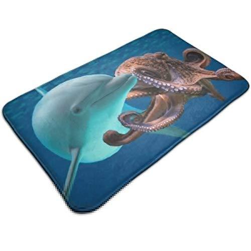 XKAWPC Outdoor Indoor Door Mats Dolphins Vs Octopuses Non-Slip Absorbent Entryway Area Rug Rugs Doormats 19.5