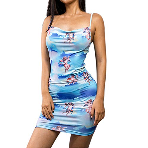 Londony Women's Backless Stripe Sleeveless Bodycon Party Dresses Rayon Belt Detail Bandage Bodycon Party Dress Blue