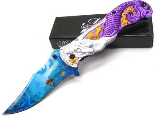 - MASTERS COLLECTION Purple MERMAID Assisted Straight Folding ProTactical'US - Limited Edition - Elite Knife with Sharp Blade New! CMM-A013PE