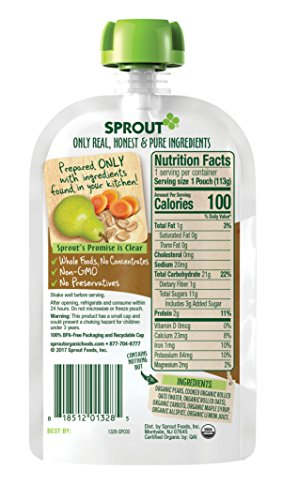 Sprout Organic Baby Food Pouches Stage 3 Sprout Baby Food, Pear Carrot Oatmeal with Maple, 4 Ounce (Pack of 6); USDA Organic, Non-GMO, Made with Whole Foods, No Added Sugar by Sprout (Image #2)
