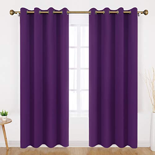 (HOMEIDEAS Blackout Curtains - 2 Panels Purple Room Darkening Curtains/Drapes, Thermal Insulated Solid Grommet Window Curtains for Bedroom & Living Room, 52 x 84 Inches)