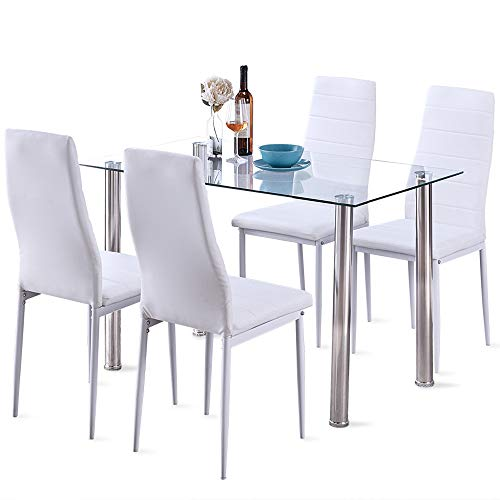 5 Pcs Modern Tempered Glass White Dining Room Table Set with 4 High Back Faxu Leather Dinning Chairs (Dimensions Dining Tables Room)