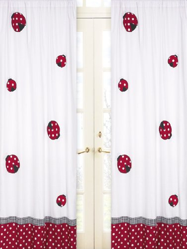 Sweet Jojo Designs 2-Piece Red and White Polka Dot Ladybug Window Treatment Panels ()