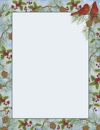 Stationery Holiday (Cardinal with Pine Holiday Bird Stationery - 80 Sheets - For Christmas Letters, Flyers, Invitations, or Greetings)