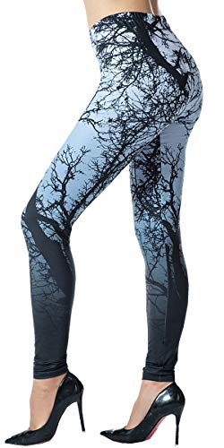 Ndoobiy Printed Leggings Basic Patterned Leggings Workout Leggings Women Girls Spandex Leggings L2(Grey Trunk OS) ()