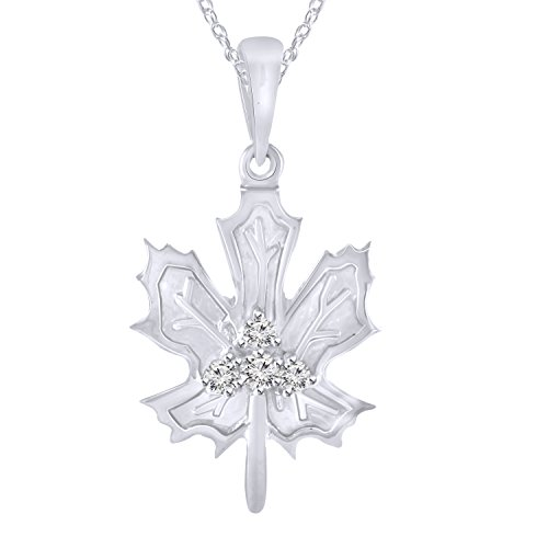 Pretty Jewels Sterling Silver 925 Round Cut Genuine Diamond 0.09 cttw Maple Leaf Pendant Necklace, 18