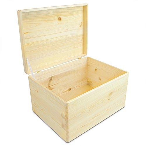 VENKON - Universal Holzkiste mit Deckel für Aufbewahrung - Kiefer naturbelassen unbehandelt - ca. 40 x 30 x 23,5 cm