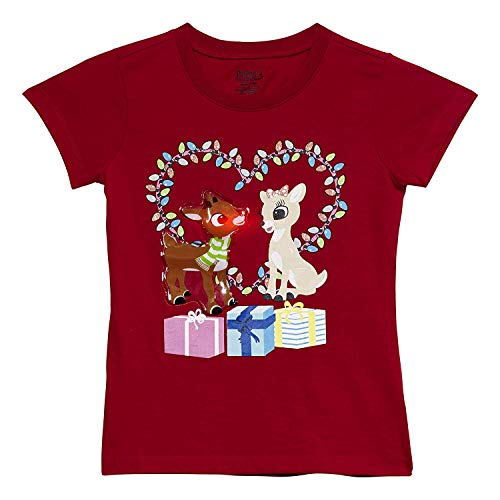 LiteWear Girls Kids Children Rudolph The Red Nosed Reindeer & Clarice Heart Graphic Light Up Holiday Christmas Tee Shirt RED 10]()