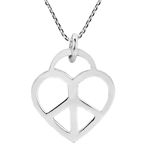 AeraVida Heart Peace Sign 'Love not War' .925 Sterling Silver Pendant Necklace