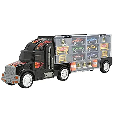 Wazaza Transport Car Carrier Truck Toy for Boys and Girls (Includes 6 Cars and 28 Slots)