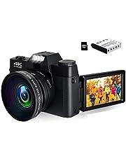 $115 » 4K Digital Camera Vlogging Camera 48MP Full HD Video Camera with WiFi, Flip Screen Camera with 16X Digital Zoom and 3.0 Inch Flip Screen, Vlog Camera for YouTube (Fixed Focus & 32G Micro Card)