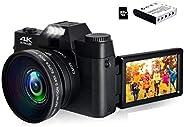 4K Digital Camera Vlogging Camera 48MP Full HD Video Camera with WiFi, Flip Screen Camera with 16X Digital Zoo