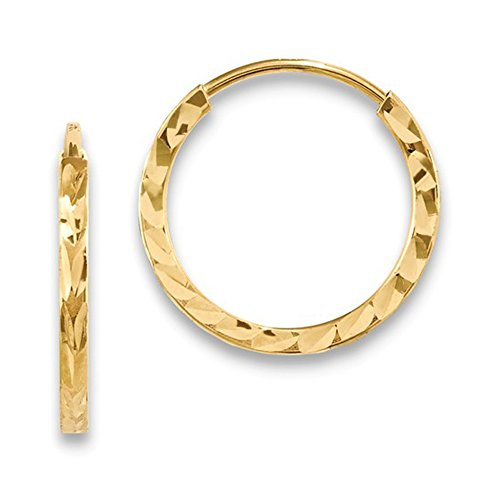 Small 14K Yellow Gold Diamond Cut Square Tube Continuous Endless Hoop Earrings.60 In (15mm) (1.35mm Tube) ()