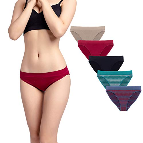 Ruxia Women's Hipster Panties Seamless Low-Rise Cheekini Panty Soft Stretch Bikini Underwear (Multi Colors,Pack of 5) L