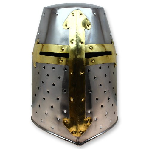 Crusader Great Helm Medieval Knights Templar Helmet Armor - Carbon Steel Hand Forged