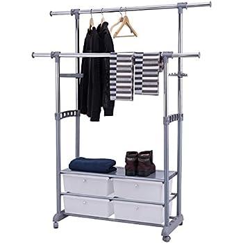 Amazon Com Whitmor Rolling Garment Rack W Drawers Home