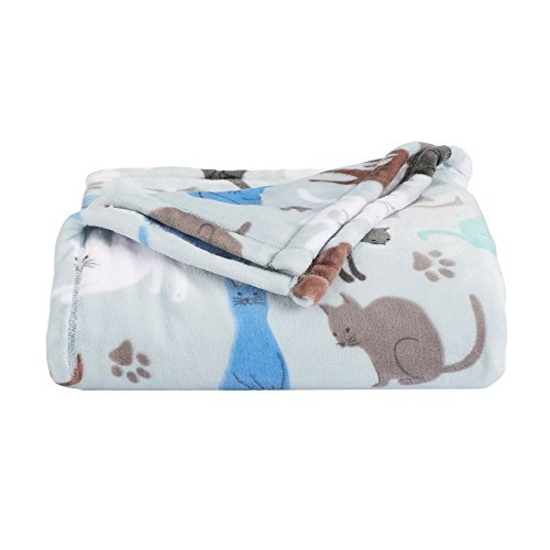 The Big One Oversized Plush Throw (Cats) - 5ft x 6ft Super Soft and Cozy Micro-Fleece Blanket for Couch or Bedroom
