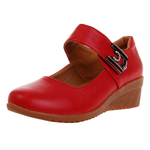 (RDTIAN Ladies Shoes Soft Soles Dancing Casual Breathable Modern High Heel Sandals Red)
