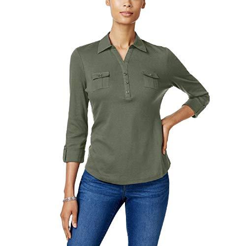 Karen Scott Cotton Polo Top (Olive Vine, M) (Tops Karen Scott)