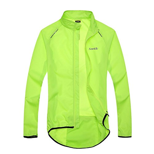 Santic Men's Cycling Skin Coat Jersey Bicycle Windproof Jacket Green X-Large