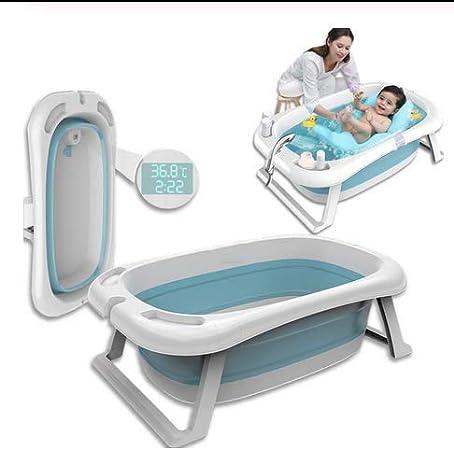 Coussin Baignoire bébé pliable pour tout-petits bassin douche avec thermomètre