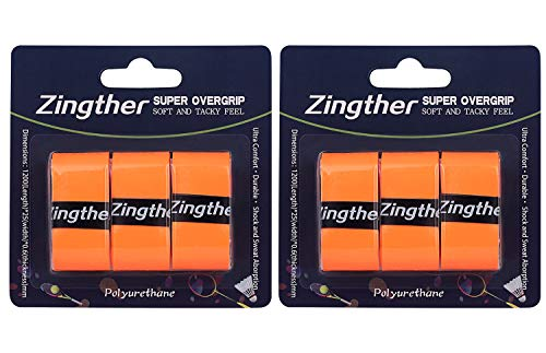 Zingther Premium Super Tacky Professional Overgrips for Tennis Rackets, Squash Rackets, Badminton Rackets, Racquetball Rackets and Pickleball Paddle Grip (Orange/Orange, 6 Grips)