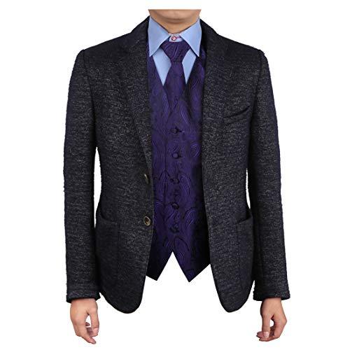 Epoint EGD1B03D-2XL Purple Black Paisley Vest Microfiber Lawyers Dress Vests Neck Tie Set Popular For ()