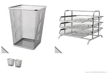 Ikea Dokument plata papelera, líneas de plata bandeja y acero 2 unidades portalápices