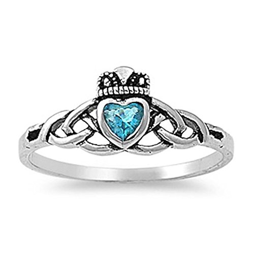 - Sterling Silver Claddagh Ring Bezel Set Heart Shape Simulated Blue Topaz Celtic Knot Promise Ring,Size7