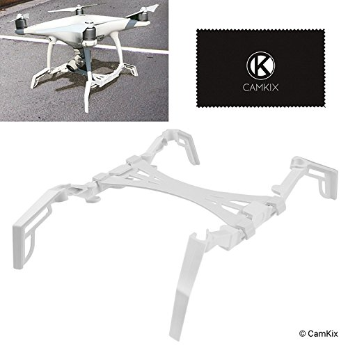 CamKix Landing Gear Extenders/Stabilizers and Gimbal Guard Protection Plate Compatible with DJI Phantom 4 Pro/Pro Plus/Advanced - Extra Stability, Eliminates Rocking, Smoother Landings