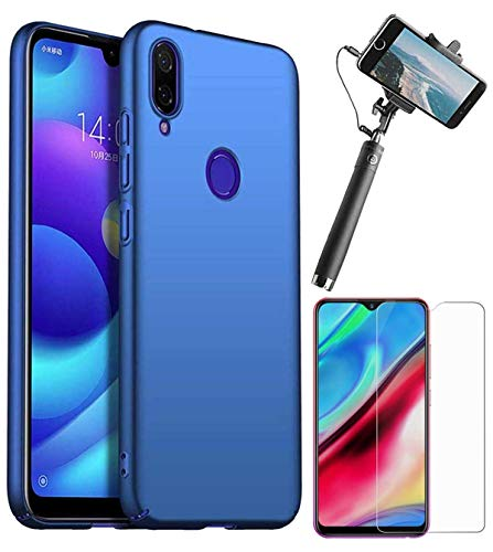 RRTBZ 4 Cut All Sides Protection Hard Back Case Cover for Xiaomi Redmi Note 7 Pro with Selfie Stick with Aux and Tempered Screen Guard -Blue
