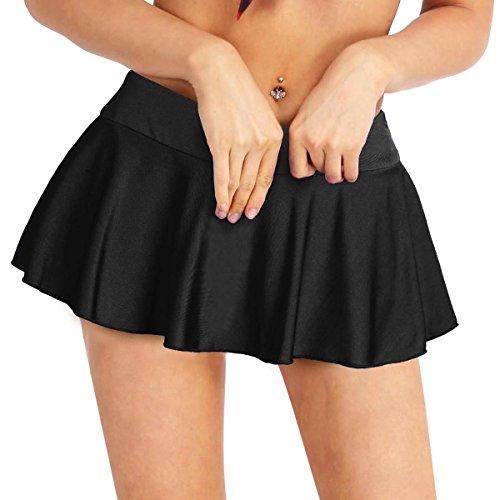 YiZYiF Fashion Women's Gym Stretchy Pleated Tennis Skirt with Underneath Shorts Black Large