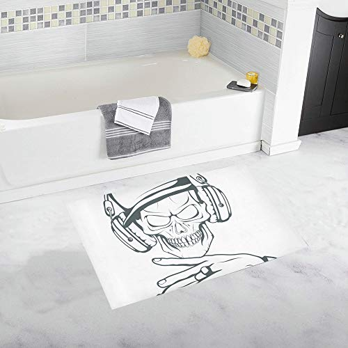 Rap Music Logo Rapper Skull On Custom Non-Slip Bath Mat Rug Bath Doormat Floor Rug for Bathroom 20x32inch