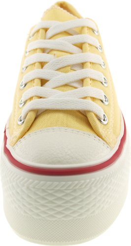 C50 Platform Low Yellow 6 Women's Canvas Sneakers Top Holes Maxstar RPxvana