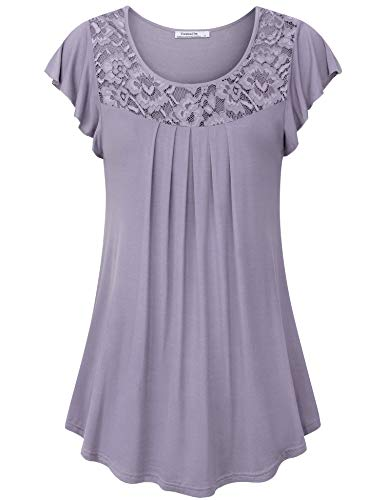 Youtalia Business Casual Clothes for Women, Summer Fashion Short Sleeve Curve Hem A Line Pleated Tunic Flattering Loose Fit T-Shirt,Violet Large