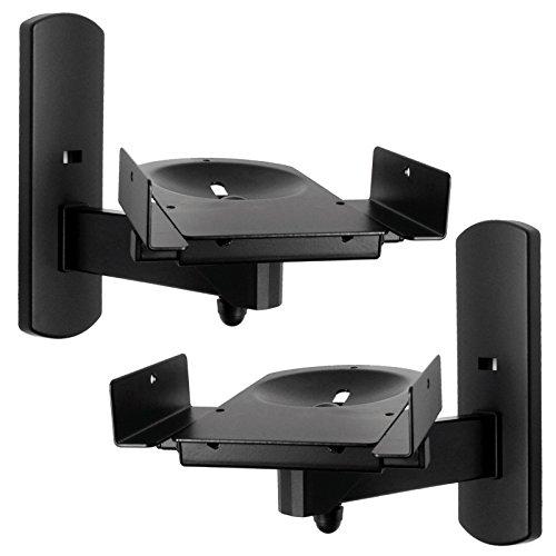 Side Clamping Bookshelf Monitor Speaker Wall Mounts Bracket with Tilt and Swivel