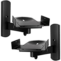 Side Clamping Bookshelf Monitor Speaker Wall Mounts Bracket with Tilt and Swivel