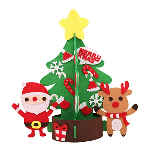 BESTOYARD Árbol de Navidad no Tejido DIY de tamaño pequeño con Adornos Desmontables para niños