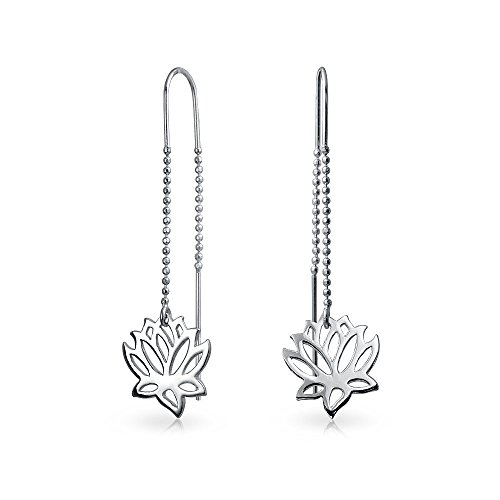 Zen Yogi Lotus Flower Thin Beaded Chain Threader Earring For Women For Teen 925 Sterling Silver