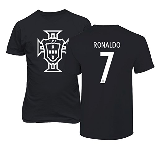 Tcamp Portugal 2018 National Soccer #7 Cristiano RONALDO World Championship Men's T-Shirt (Black, Adult Medium)