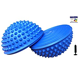 AppleRound Set of 2 Balance Pods with 1 Pump, Domed Hedgehog Style, Blue